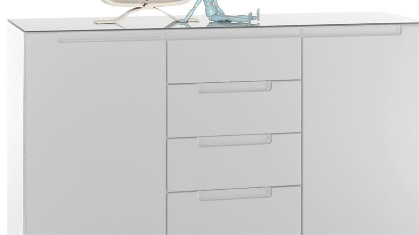 Kommode 5 TIGER mit Glasplatte weiß Hochglanz