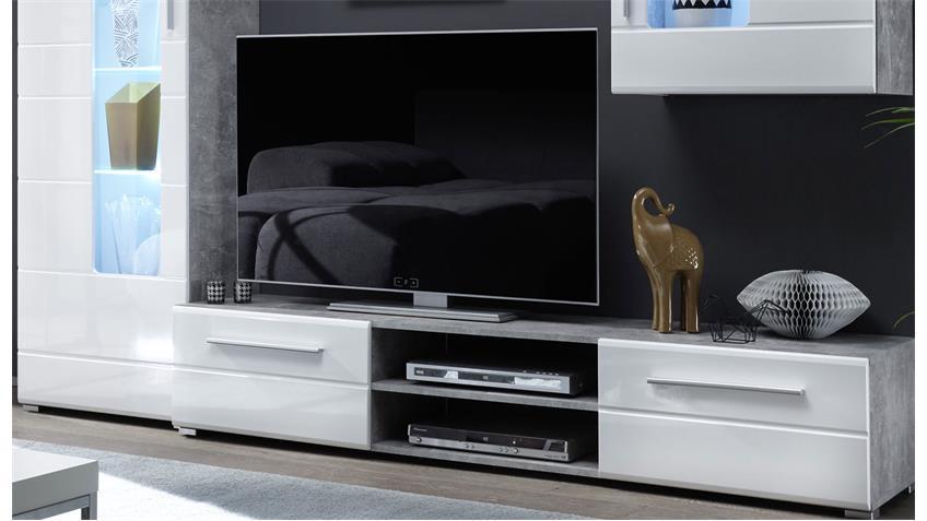 wohnwand everest hochglanz weiss beton mit led beleuchtung. Black Bedroom Furniture Sets. Home Design Ideas
