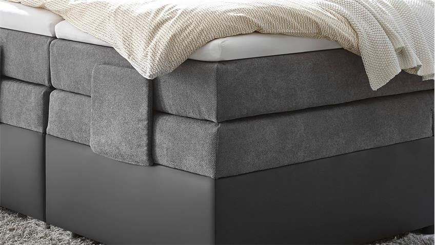 boxspringbett trenton 1 in grau bonell federkern mit motor 180x200 cm. Black Bedroom Furniture Sets. Home Design Ideas