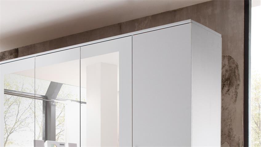 Kleiderschrank BOX 5 Schrank 5-türig in weiß Beton mit Spiegel 212 cm