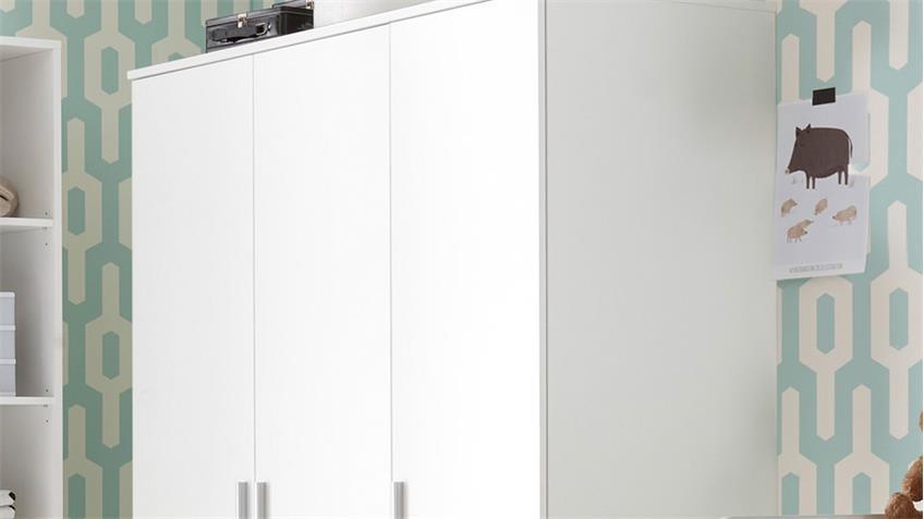 Kleiderschrank Babyzimmer Bibo Drehtürenschrank 3-türig weiß