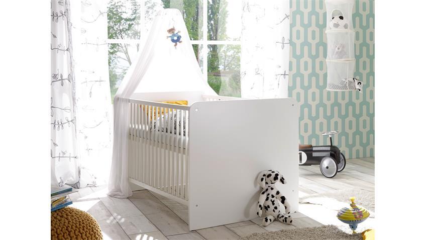 Babybett Gitterbett Bibo Kinderbett weiß Schlupfsprossen 70x140