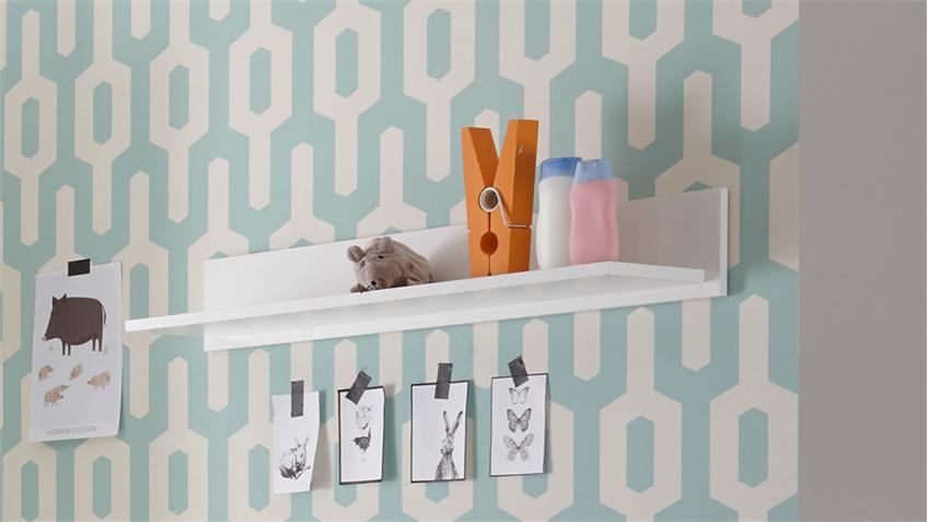 Wandboard Babyzimmer Bibo Wandpaneel Ablage weiß 95 cm