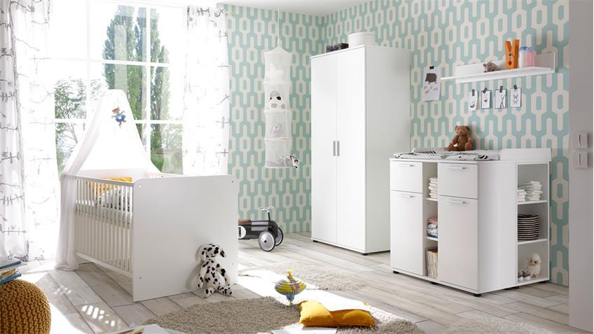 babyzimmer bibo wei schrank 2 t rig babybett wickelkommode 3 teilig. Black Bedroom Furniture Sets. Home Design Ideas