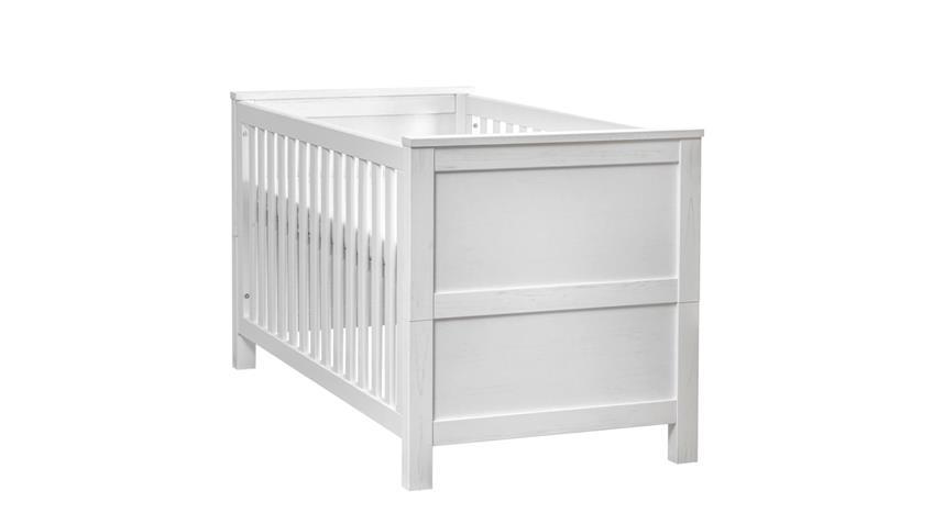 babybett luiza in anderson pinie wei inkl matratzenauflage 70x140 cm. Black Bedroom Furniture Sets. Home Design Ideas