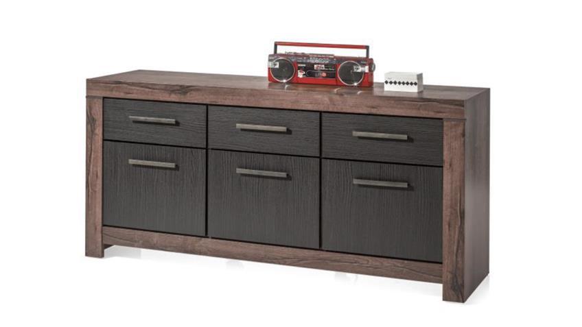 sideboard 6 balin anrichte 3 t rig canyon eiche schwarz 3 schubk sten. Black Bedroom Furniture Sets. Home Design Ideas