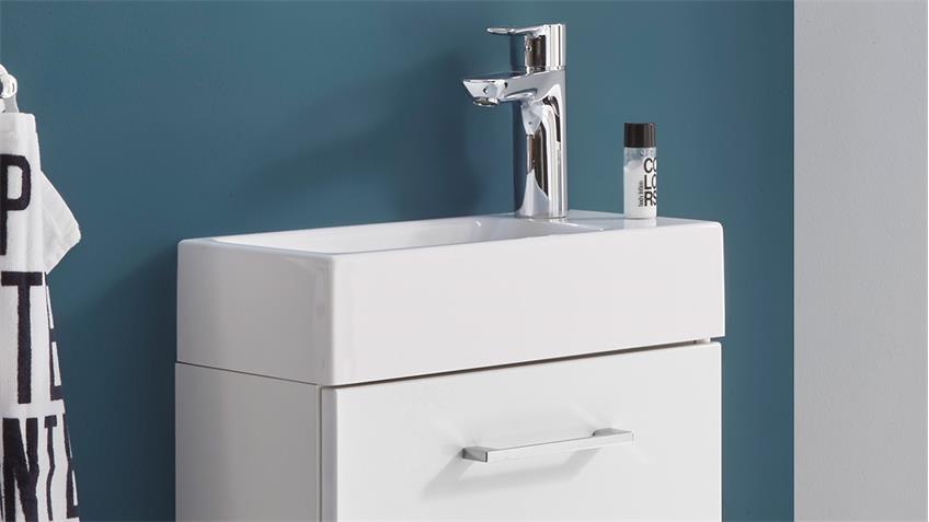Badezimmer GUEST Gäste WC weiß matt mit Waschbecken