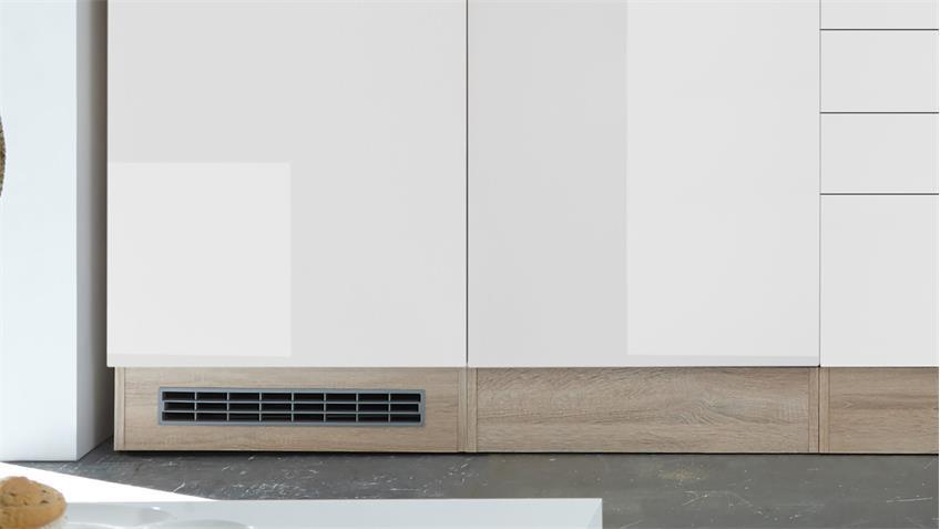 Küchenblock LAUREL Küchenzeile Sonoma Eiche weiß Hochglanz 310x211 cm