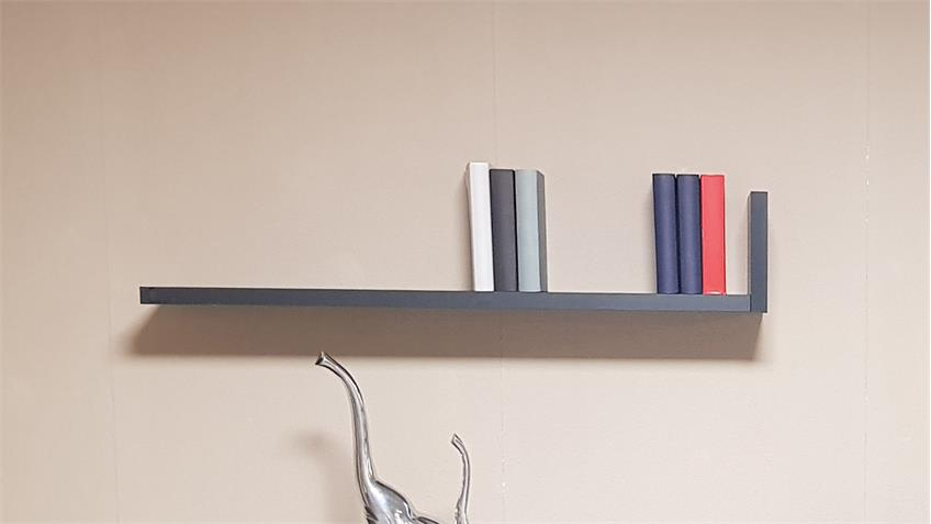 Wandregal Bright Wandboard Hängeregal in graphit mit Ablage 100 cm