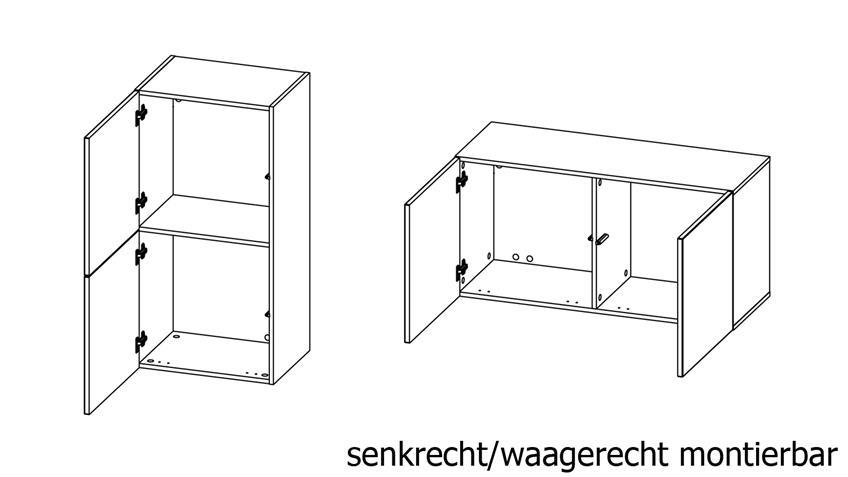 Hängeschrank 2-türig in weiß Schrank Bright inkl. push-to-open