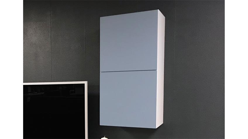 Hängeschrank Bright Schrank weiß blau mit 2 Türen inkl. push-to-open