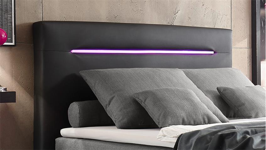 boxspringbett cardiff schwarz grau mit federkern inkl led 140x200 cm. Black Bedroom Furniture Sets. Home Design Ideas