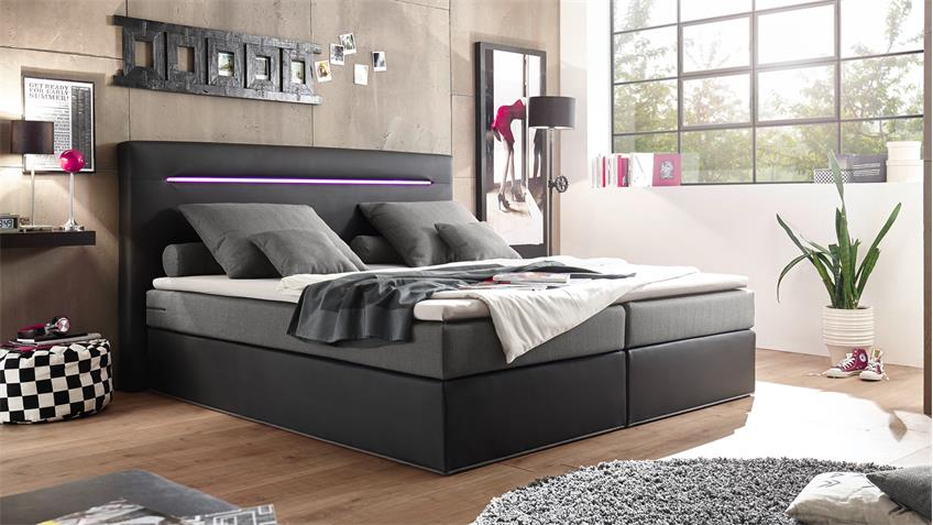 boxspringbett cardiff schwarz grau mit federkern inkl led 180x200 cm. Black Bedroom Furniture Sets. Home Design Ideas