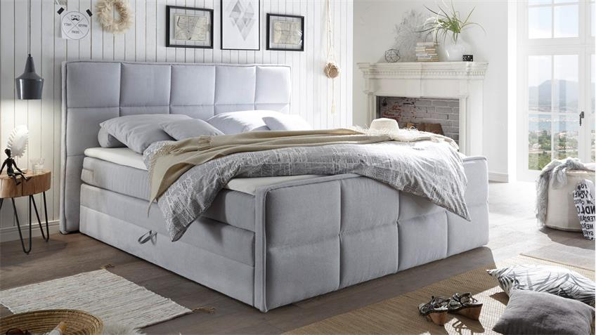 boxspringbett arvada stoff pastell 7 zonen ttfk mit bettkasten 180x200. Black Bedroom Furniture Sets. Home Design Ideas