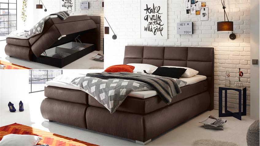 boxspringbett kosali 2 stoff braun 7 zonen ttfk und federkern 180x200. Black Bedroom Furniture Sets. Home Design Ideas