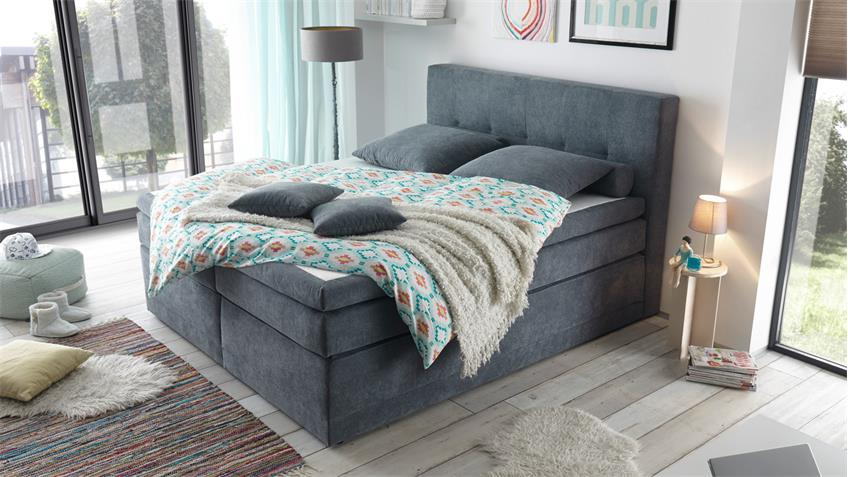 boxspringbett hot springs 2 stoff anthrazit mit 7 zonen ttfk 180x200. Black Bedroom Furniture Sets. Home Design Ideas