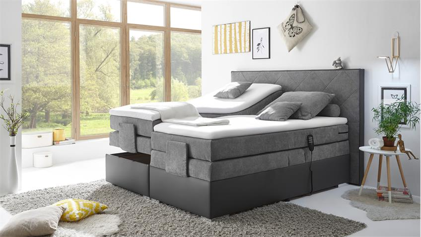 boxspringbett trenton 3 dunkelgrau grau 7 zonen ttfk mit motor 180x200. Black Bedroom Furniture Sets. Home Design Ideas
