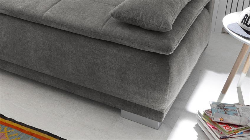 schlafsofa luigi dauerschl fer stoff stone grau federkern inkl topper. Black Bedroom Furniture Sets. Home Design Ideas