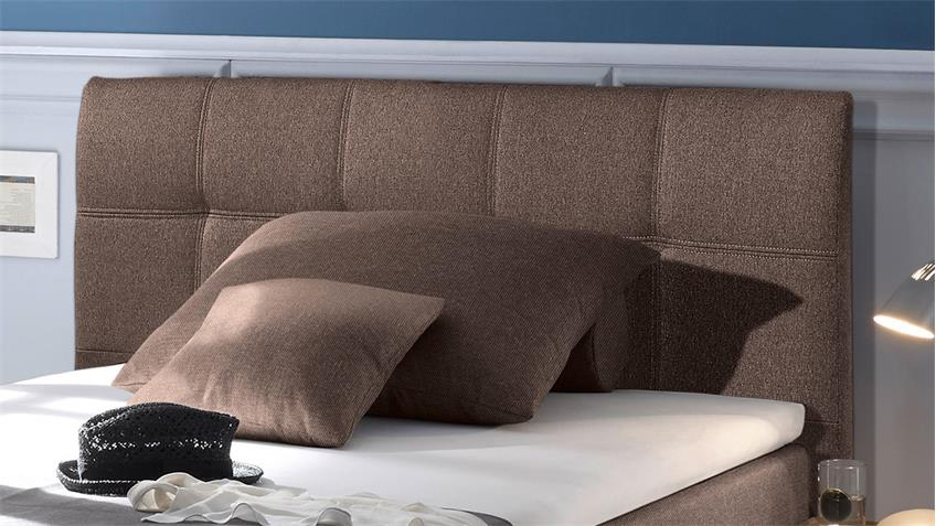 Boxspringbett NEW BEDFORD 1 in Stoff braun Federkern Bettkasten 120 cm