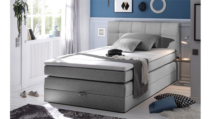 boxspringbett new bedford 1 in stoff grau federkern bettkasten 120 cm. Black Bedroom Furniture Sets. Home Design Ideas