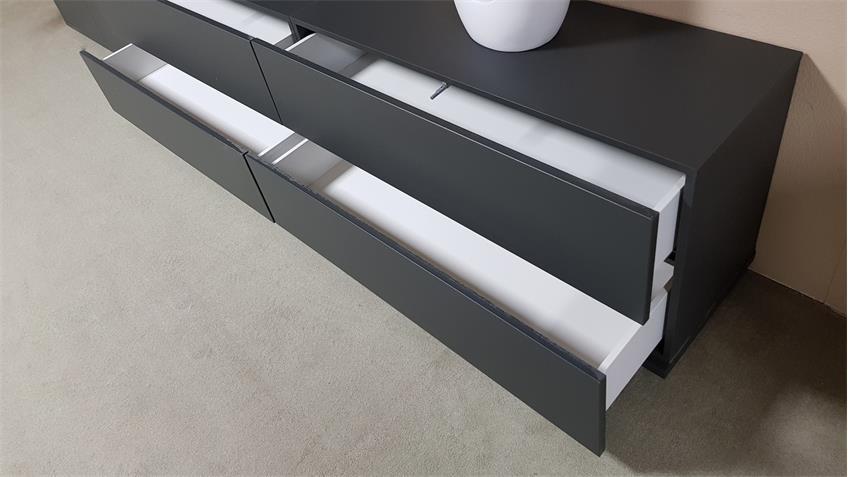 Wohnwand BRIGHT Anbauwand Schrankwand in graphit inkl. push-to-open