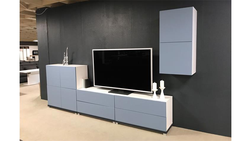 Kommode Bright TV-Board weiß blau mit 2 Schubkästen inkl. push-to-open