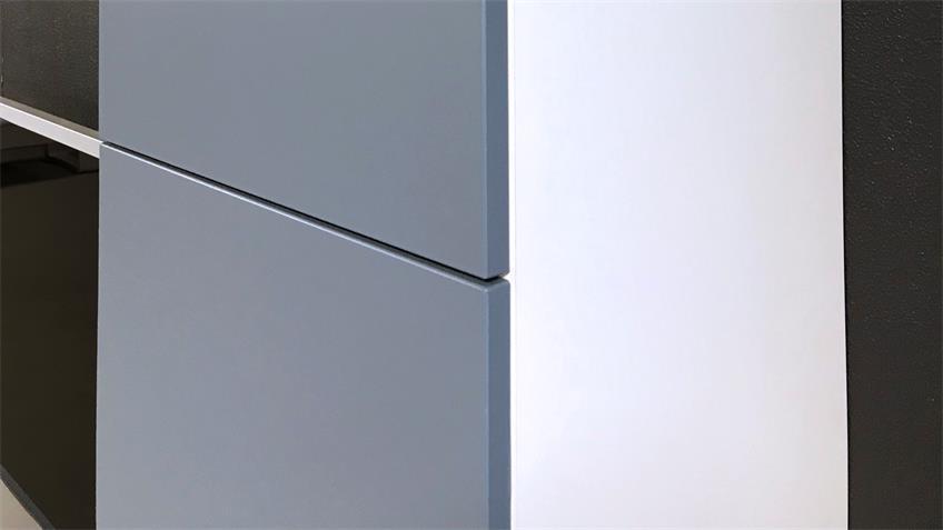 Anbauwand Bright Wohnwand Schrankwand in weiß blau inkl. push-to-open