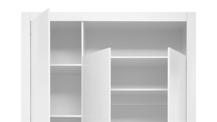 Kleiderschrank Drehtürenschrank Paula 3-türig weiß 137 cm