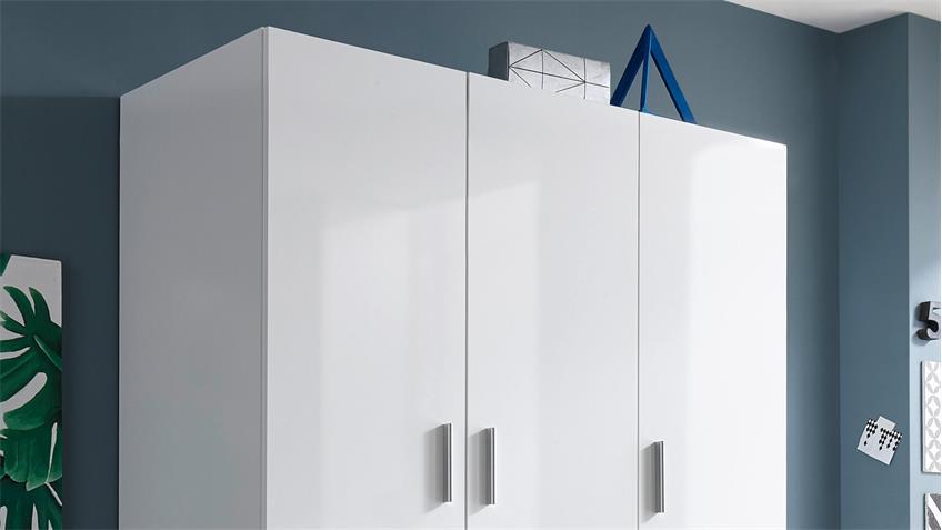 Kleiderschrank Hagen 3-türig weiß Hochglanz 135 cm