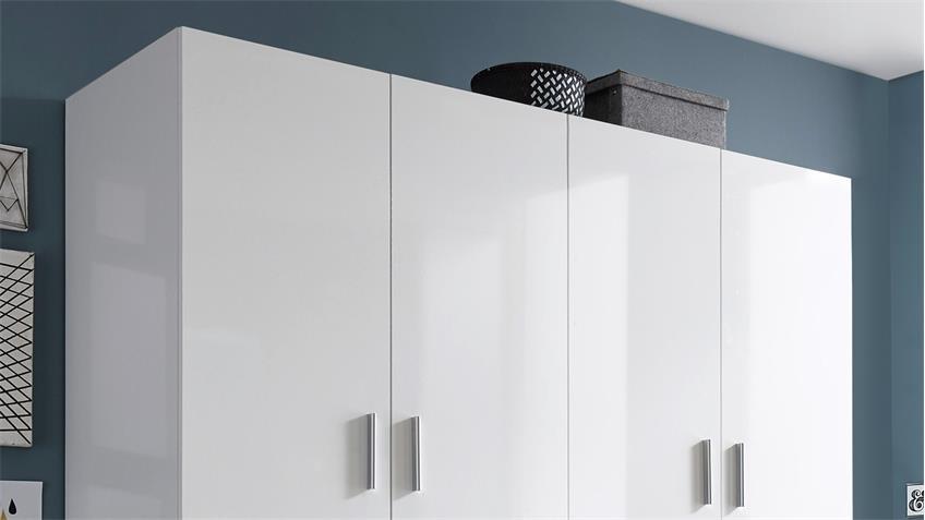 Kleiderschrank Hagen 4-türig weiß Hochglanz 180 cm