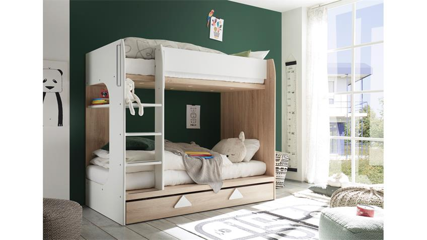 etagenbett maja bett eiche sonoma wei inkl bettkasten 2x 90x200 cm. Black Bedroom Furniture Sets. Home Design Ideas