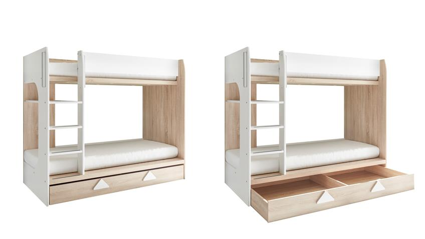 etagenbett maja bett eiche sonoma wei inkl bettkasten 2x 90x200 cm. Black Bedroom Furniture Sets. Home Design Ideas