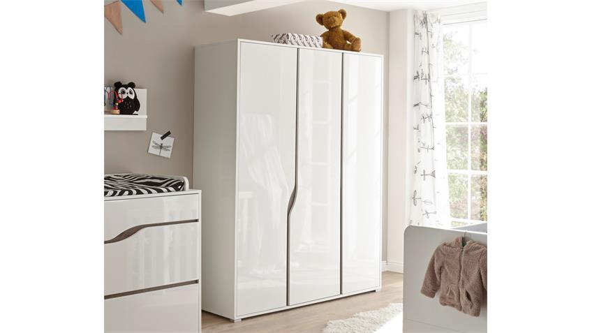 Kleiderschrank Babyzimmer MARRA 3-trg MDF weiß Hochglanz