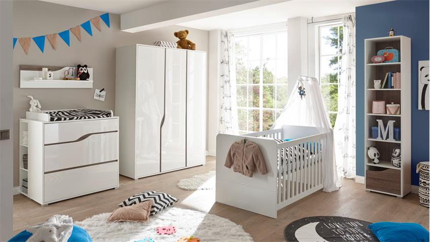 kleiderschrank babyzimmer marra 3 trg mdf wei hochglanz. Black Bedroom Furniture Sets. Home Design Ideas