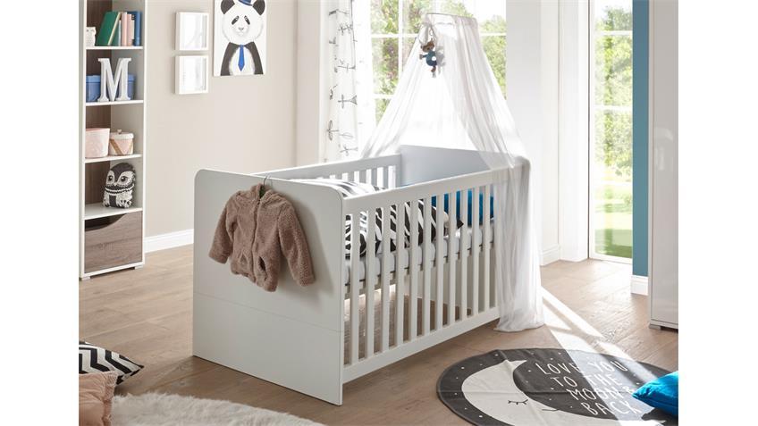 Babybett MARRA Kinderbett Gitterbett weiß mit Schlupfsprossen
