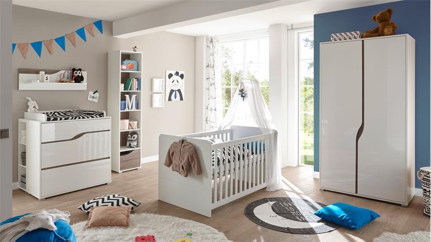Babyzimmer 2 MARRA 3-teilig weiß Hochglanz Schrank 2-türig