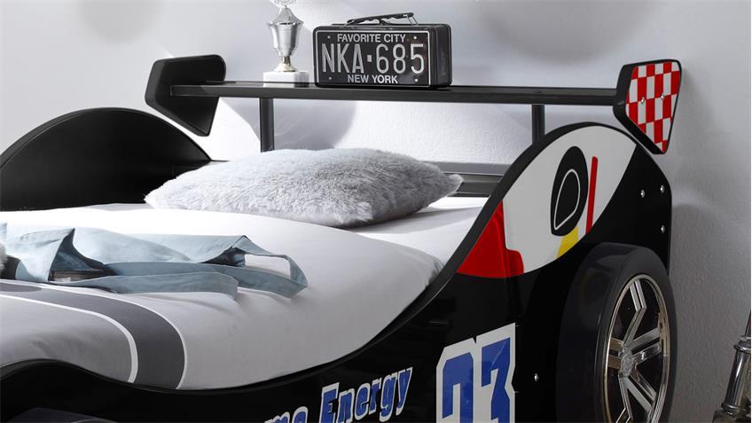 Autobett ENERGY MDF Kinderbett Bett schwarz lackiert inkl. Beleuchtung