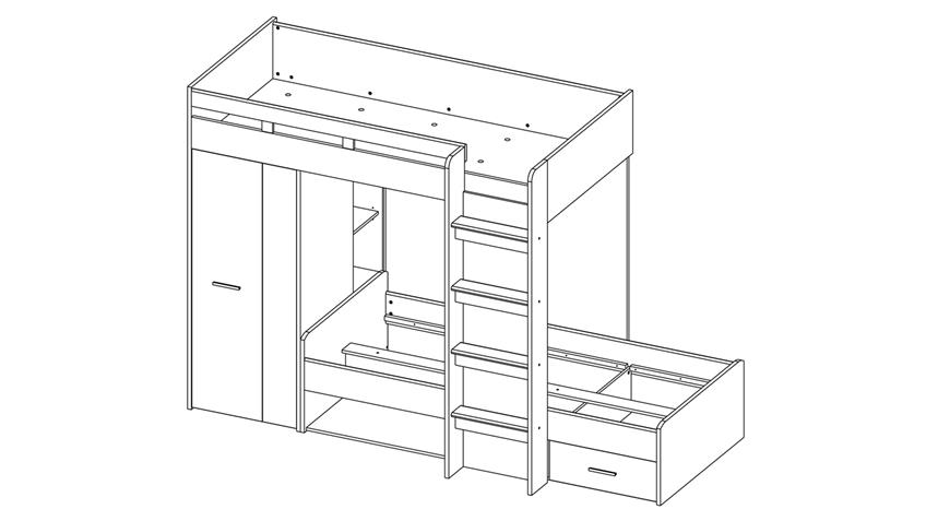 Etagenbett MAXI Kinderbett Hochbett Bett weiß und Beton 90x200 cm