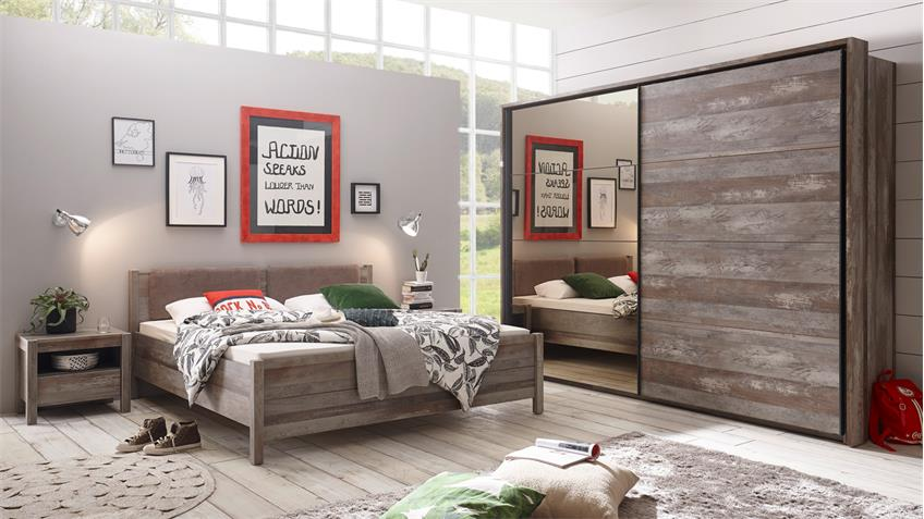 Bettanlage MOON RIO Bett inkl. 2 Nachtkommoden Driftwood 180x200 cm