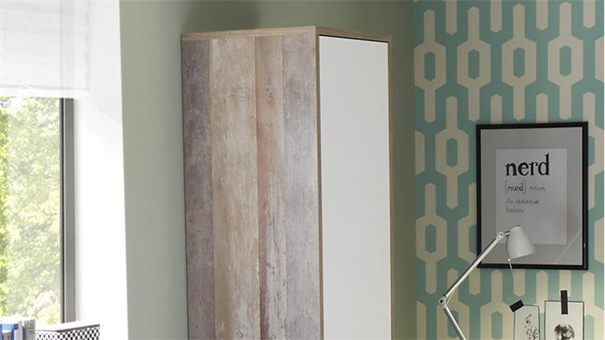 Standregal Moon Driftwood weiß Bücherregal Regal Schrank 2-türig