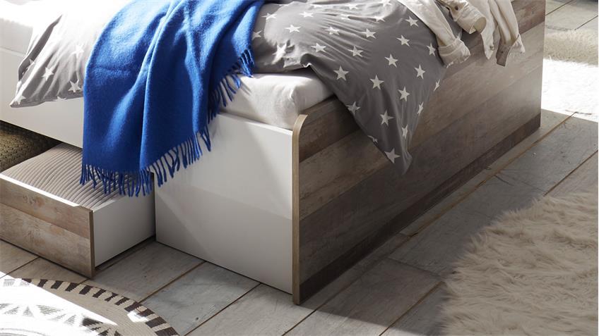 Jugendbett MOON Bett Driftwood weiß inkl. Bettschubkasten 140x200 cm