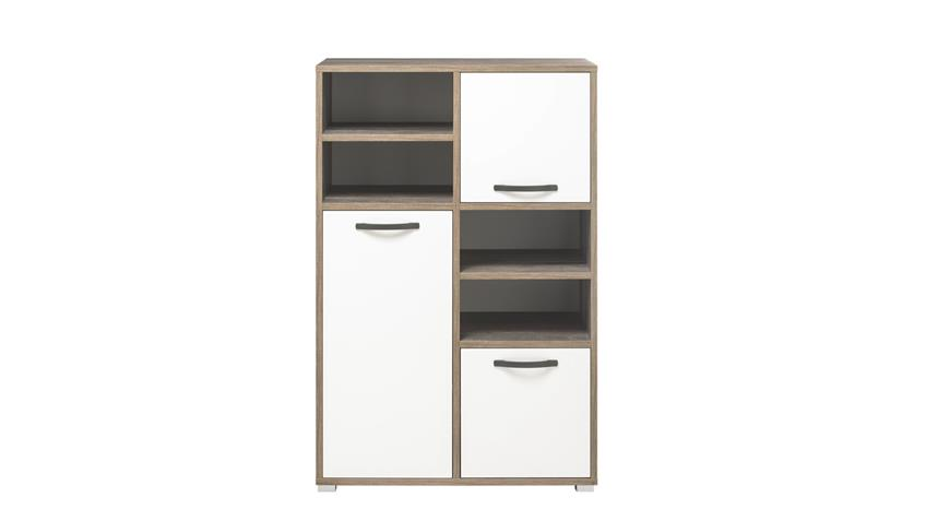 Highboard MOON Schrank Kommode Stauraumelement Regal Driftwood weiß