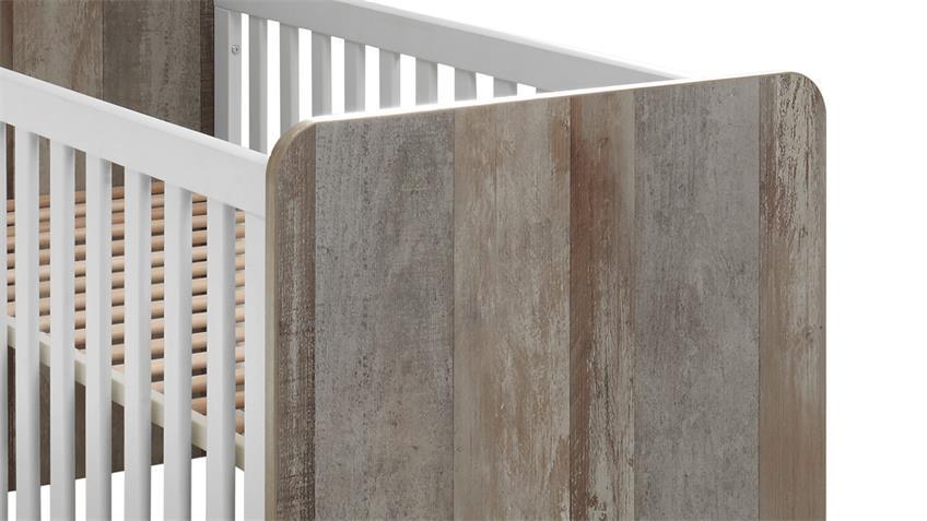 Babybett MOON Gitterbett Kinderbett Bett Driftwood weiß 70x140 cm