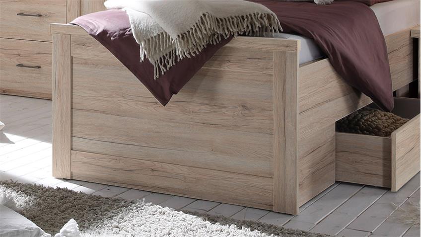 bett luca komfortbett eiche san remo inkl bettschubkasten 100x200 cm. Black Bedroom Furniture Sets. Home Design Ideas