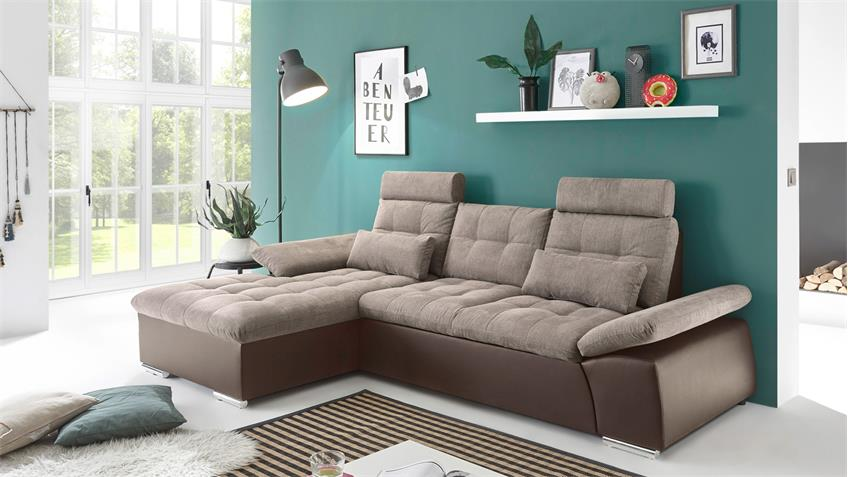 sofa mit longchair l jakarta mit schlaffunktion dark chocolate camel. Black Bedroom Furniture Sets. Home Design Ideas