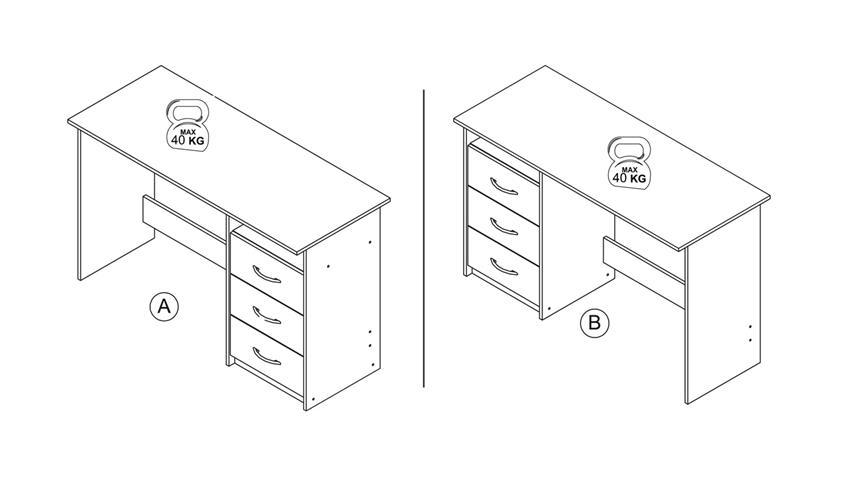 Schreibtisch ADRIA Bürotisch PC-Tisch weiß 120x50 cm