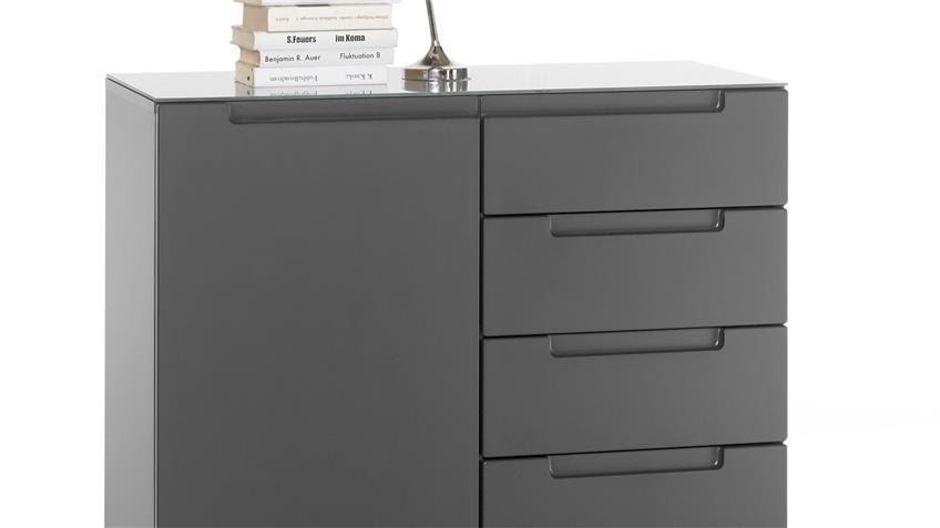 Kommode 993 TYGA Sideboard Schrank Anrichte grau matt mit Glas 90x87