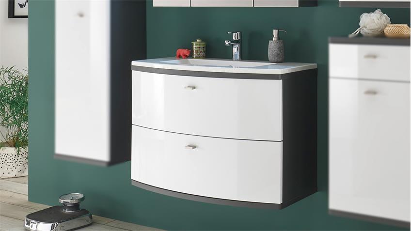 Waschbeckenunterschrank ATLANTA inkl. Waschbecken weiß Hochglanz grau