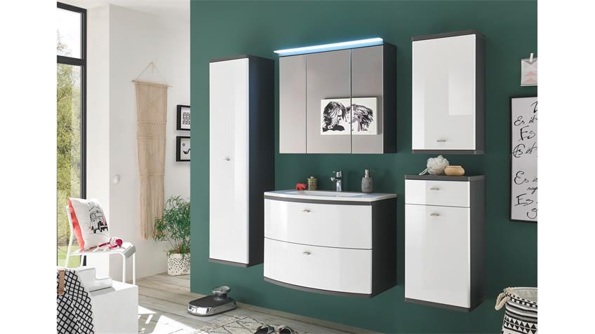 Spiegelschrank ATLANTA Spiegel Badezimmerspiegel grau inkl. LED 80x70