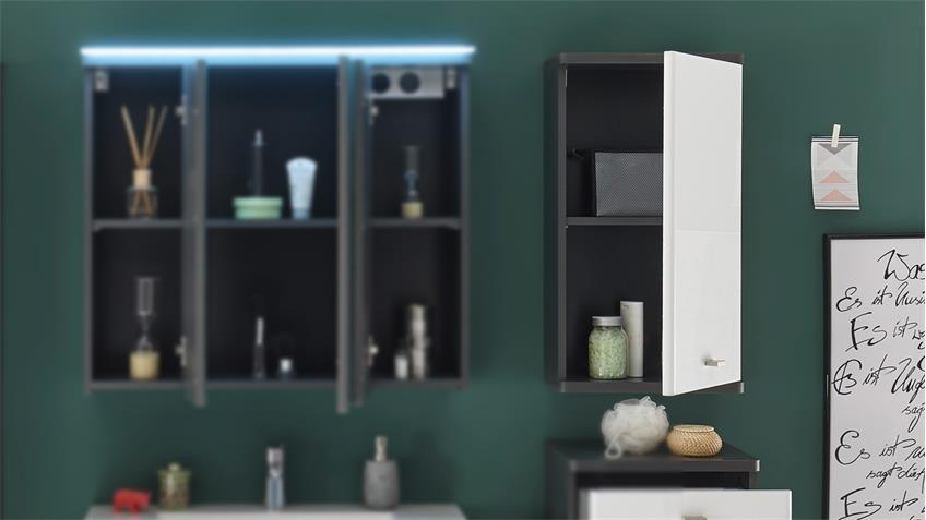 Hängeschrank ATLANTA Badezimmerschrank in weiß Hochglanz grau 38x70 cm